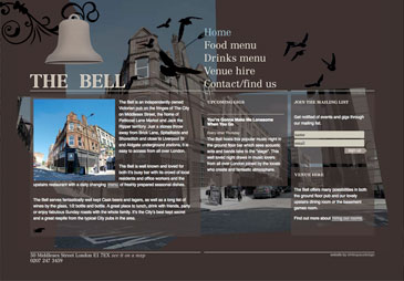 Screenshot of The Bell Pub's website