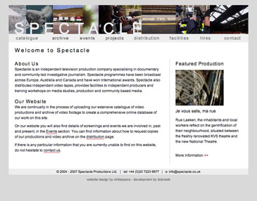 Screenshot of Spectacle website